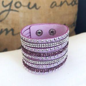 🎀 NEW • Lilac Crystal Vegan Leather Bracelet •